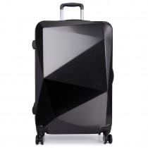 "K6671L- 28""Miss LuLu Hard Shell 4 Wheel Spinner Suitcase Diamond Shape Luggage Black"