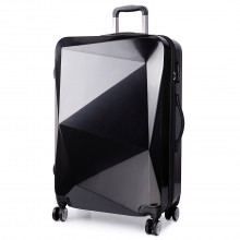 K6671L - KONO hard shell suitcase diamond design 20 inch luggage BLACK