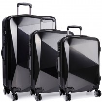 K6671L - Kono Hard Shell Suitcase Diamond Design 3 Piece Luggage Set Black