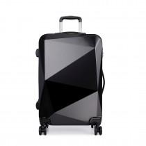 "K6671L- 24""Miss LuLu Hard Shell 4 Wheel Spinner Suitcase Diamond Shape Luggage Black"