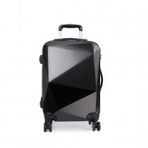 "K6671L- 20""Miss LuLu Hard Shell 4 Wheel Spinner Suitcase Diamond Shape Luggage Black"