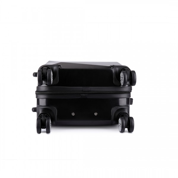 K6671L - KONO hard shell suitcase diamond design 20 inch luggage BLACK