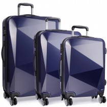 K6671L - Kono Hard Shell Suitcase Diamond Design 3 Piece Luggage Set Navy