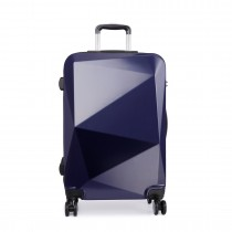 K6671L-miss lulu diamond shape travel luggage navy 24''