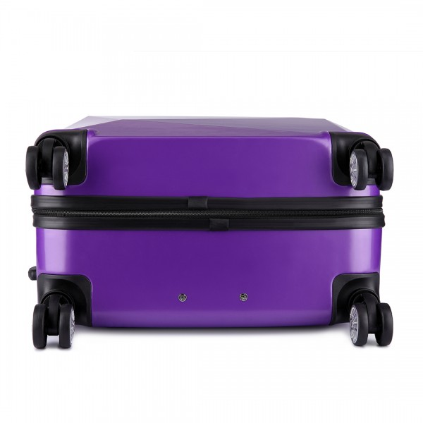 K6671L - Kono Hard Shell Suitcase Diamond Design 3 Piece Luggage Set Purple