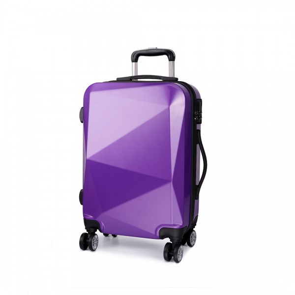 K6671L - KONO hard shell suitcase diamond design 20 inch luggage PURPLE