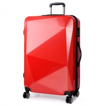 K6671L - KONO hard shell suitcase diamond design 20 inch luggage RED
