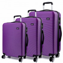 K6676L - KONO 3 Piece Suitcase Horizontal Stripe Luggage Set Purple