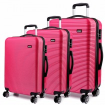 K6676L - KONO 3 Piece Suitcase Horizontal Stripe Luggage Set Plum