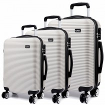 K6676L - KONO 3 Piece Suitcase Horizontal Stripe Luggage Set White