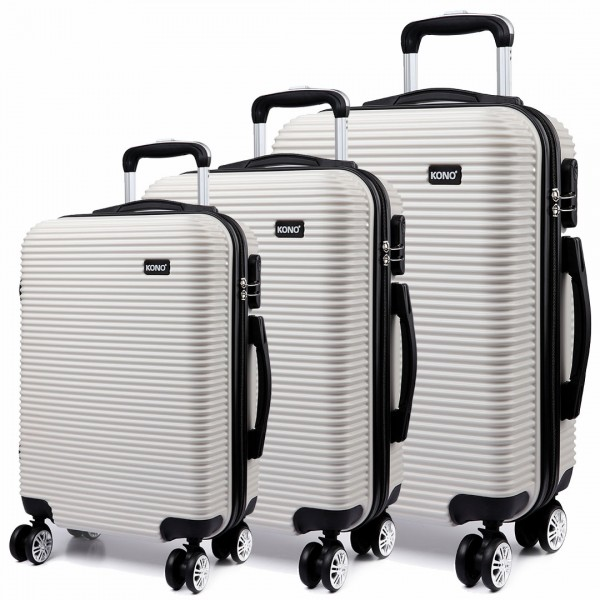 K6676L - KONO 3 Piece Suitcase Horizontal Stripe Luggage Set - White