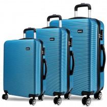 K6676L - Kono 3 Piece Horizontal Stripe Luggage Set  Blue