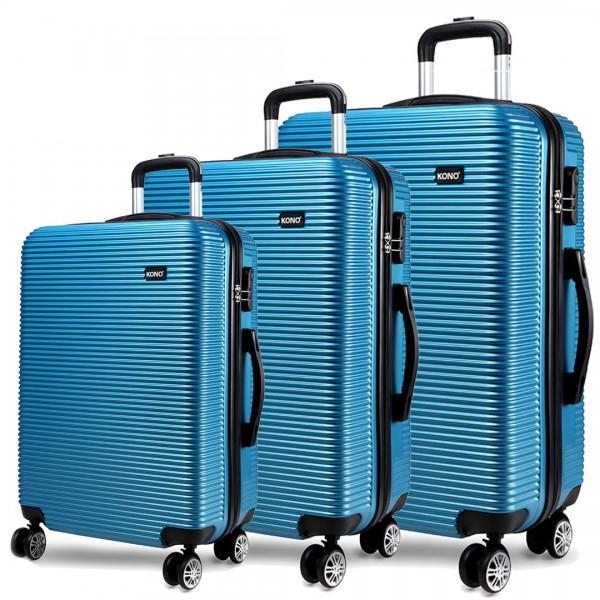 K6676L - KONO 3 Piece Suitcase Horizontal Stripe Luggage Set - Blue