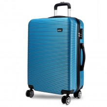 K6676L - KONO 20 Inch Suitcase Horizontal Stripe Luggage Blue