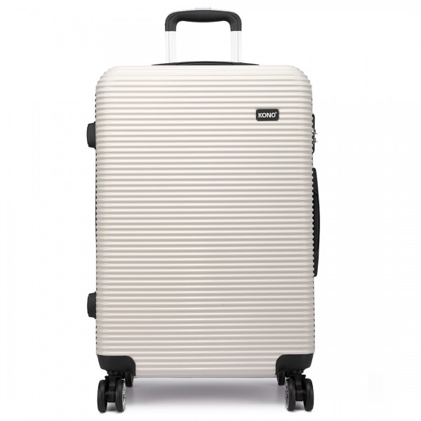 K6676L - KONO 3 Piece Suitcase Horizontal Stripe Luggage Set - White And Black