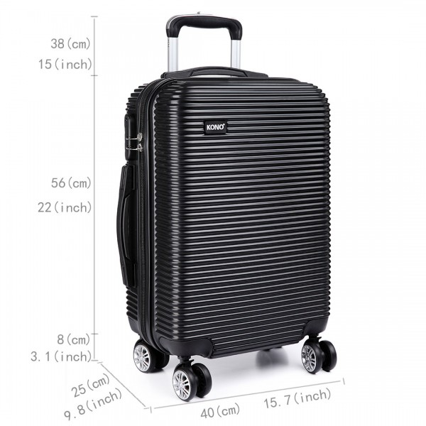 K6676L - KONO 3 Piece Suitcase Horizontal Stripe Luggage Set Black