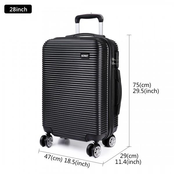 K6676L - KONO 3 Piece Suitcase Horizontal Stripe Luggage Set - Black