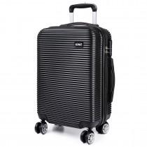 K6676L - KONO 20 Inch Horizontal Stripe Luggage Black