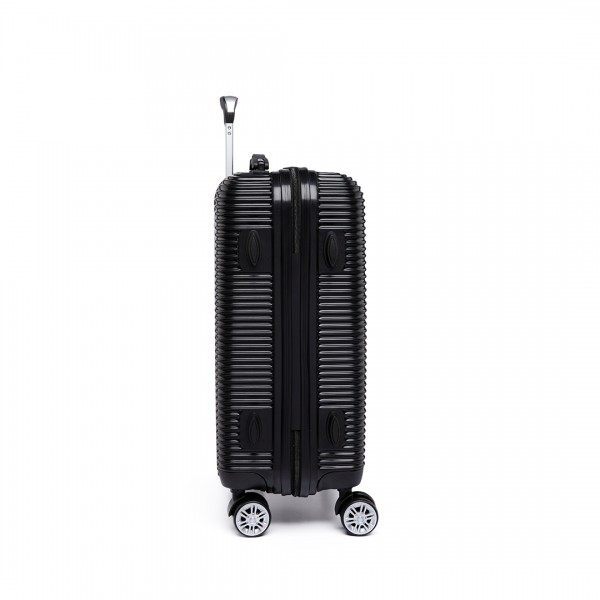 K6676L - KONO 20 Inch Suitcase Horizontal Stripe Luggage - Black