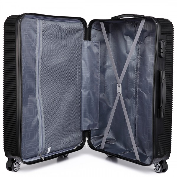 K6676L - KONO 20 Inch Suitcase Horizontal Stripe Luggage Black