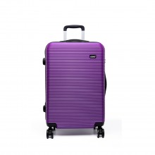 K6676L - KONO 20 Inch Suitcase Horizontal Stripe Luggage - Purple