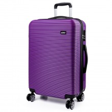K6676L - KONO 20 Inch Suitcase Horizontal Stripe Luggage Purple