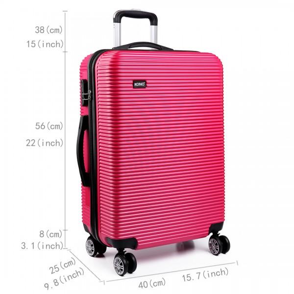 K6676L - KONO 3 Piece Suitcase Horizontal Stripe Luggage Set Plum