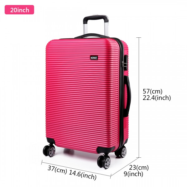 K6676L - KONO 3 Piece Suitcase Horizontal Stripe Luggage Set - Plum