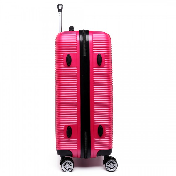 K6676L - KONO 20 Inch Suitcase Horizontal Stripe Luggage Plum