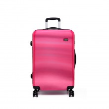 K6676L - KONO 20 Inch Suitcase Horizontal Stripe Luggage - Plum