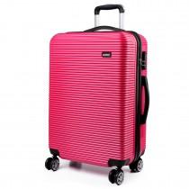 K6676L - KONO 20 Inch Horizontal Stripe Luggage Plum