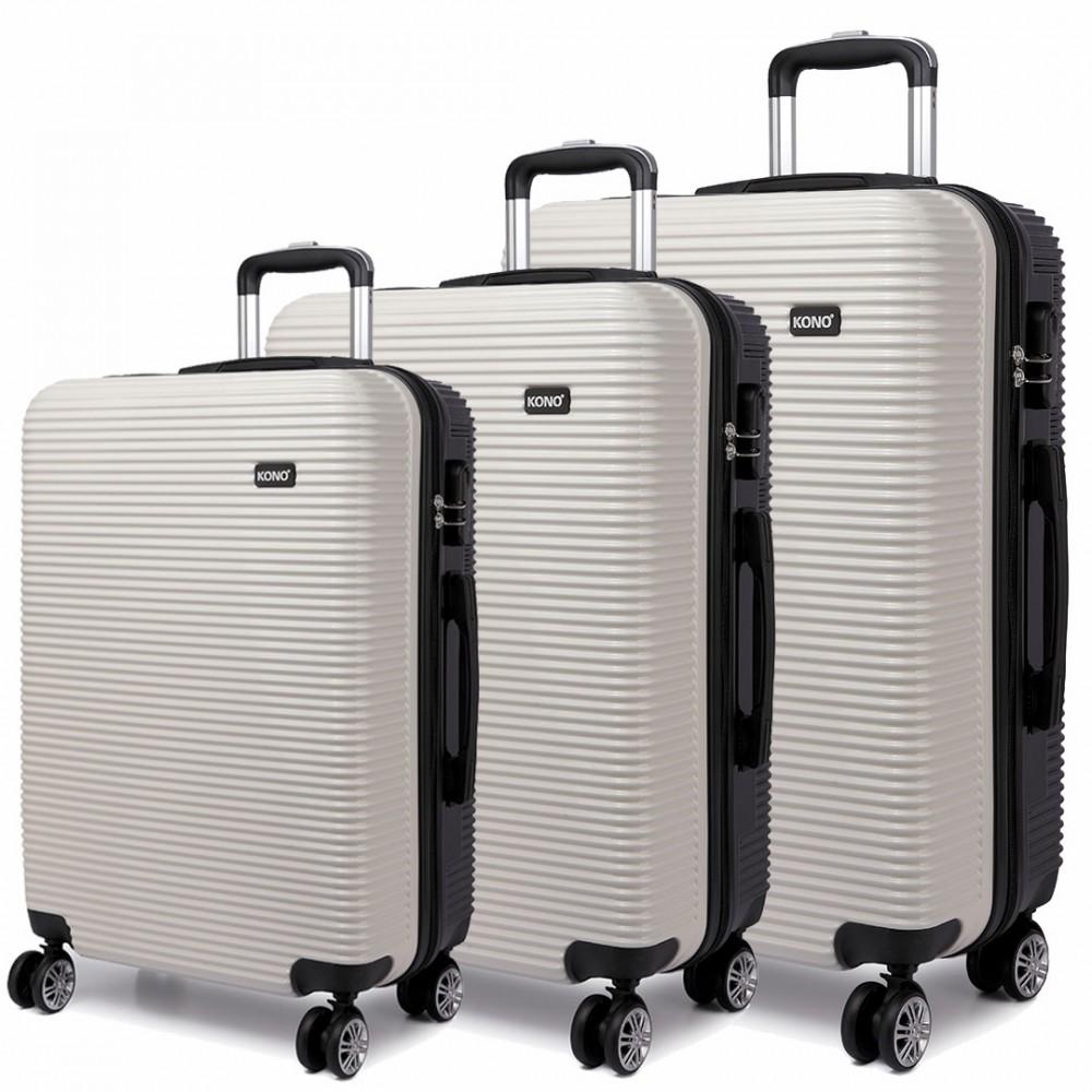 f79fd2797b16 K6676L - KONO 3 Piece Suitcase Horizontal Stripe Luggage Set White/Black