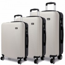 K6676L - Kono Travel Luggage Wheel Trolleys Suitcase Hard Shell 3 Pieces Set White and Black