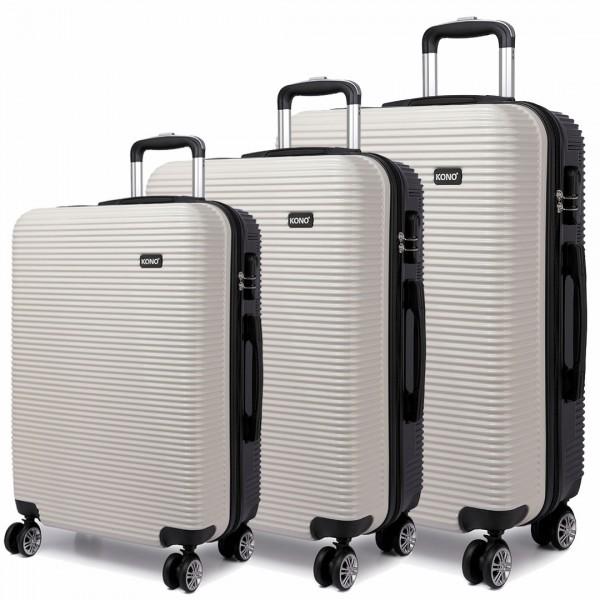 K6676L - KONO 3 Piece Suitcase Horizontal Stripe Luggage Set White/Black