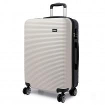 K6676L - KONO 20 Inch Horizontal Stripe Luggage Black/White