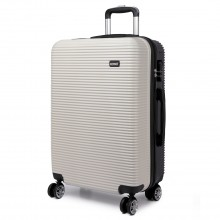 K6676L - KONO 20 Inch Suitcase Horizontal Stripe Luggage Black/White