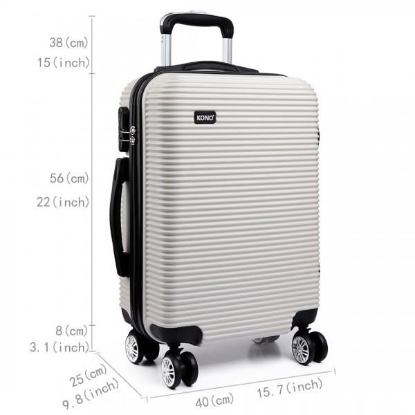 K6676L - KONO 3 Piece Suitcase Horizontal Stripe Luggage Set White