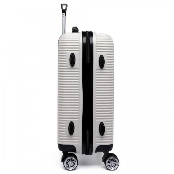 K6676L - KONO 20 Inch Suitcase Horizontal Stripe Luggage White