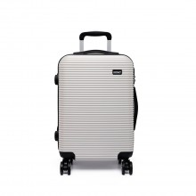 K6676L - KONO 20 Inch Suitcase Horizontal Stripe Luggage - White