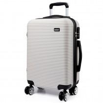 K6676L - KONO 20 Inch Horizontal Stripe Luggage White