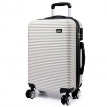 K6676L - KONO 20 Inch Suitcase Horizontal Stripe Luggage White