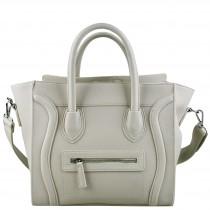L1101 - Miss Lulu Structured Leather Look Smile Handbag Plain Beige