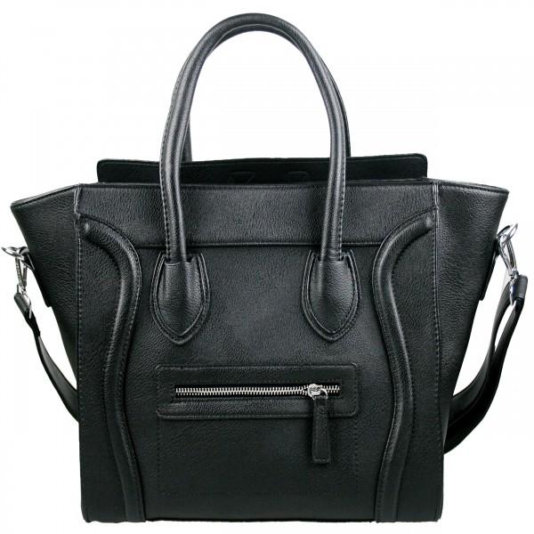 L1101 - Miss Lulu Structured Leather Look Smile Handbag Plain Black