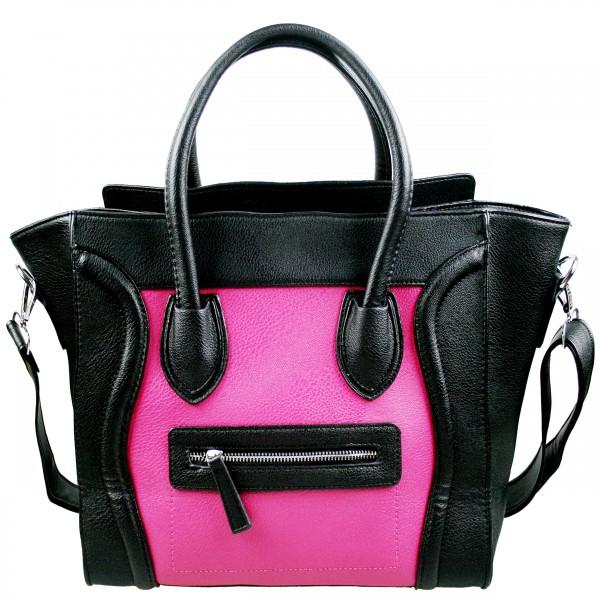 L1101 - Miss Lulu Structured Leather Look Smile Handbag Plain Black And Plum