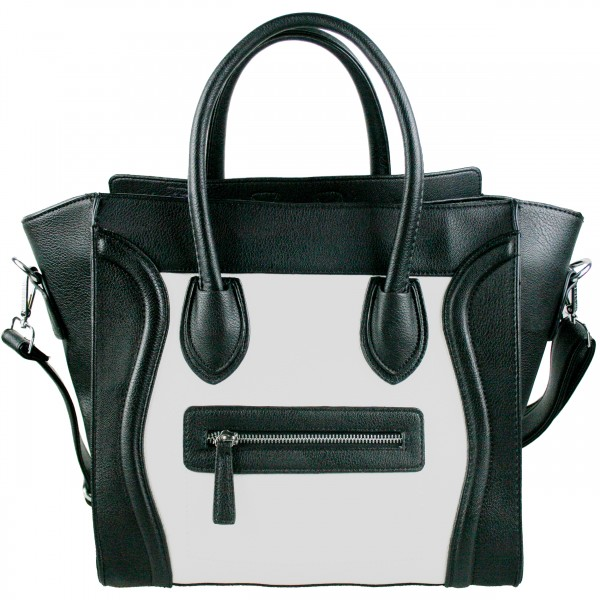 ff9688f01236 L1101 - Miss Lulu Structured Leather Look Smile Handbag Plain Black And  White