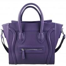 L1101 - Miss Lulu Structured Leather Look Smile Handbag Plain Purple