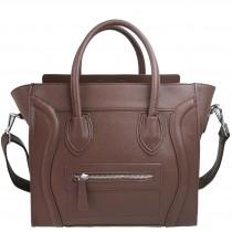 L1101 - Miss Lulu Structured Leather Look Smile Handbag Plain Brown