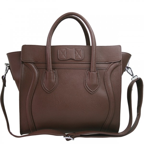 L1101 - Miss Lulu Structured Leather Look Smile Handbag Plain Brown