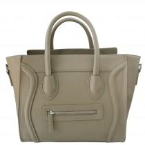 L1101 - Miss Lulu Structured Leather Look Smile Handbag Plain Grey