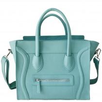 L1101 - Miss Lulu Structured Leather Look Smile Handbag Plain Light Blue